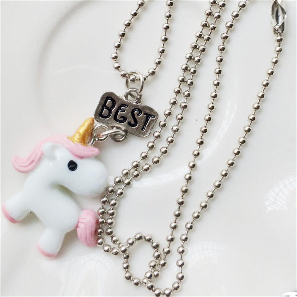 3PCs//Set Forever Jewelry Unicorn Pendants Bead Chain Friendship Bff Necklace