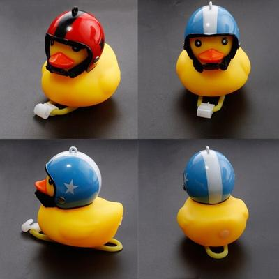 Yellow Duck Bicycle Bell with LED Light Ball Helmet For Road Bike Cycling Cute