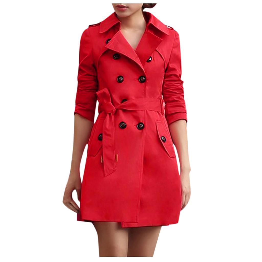 Women/'s Fashion Windbreaker Double-Breasted Slim Fit Trench Coat Outwear S-4XL L