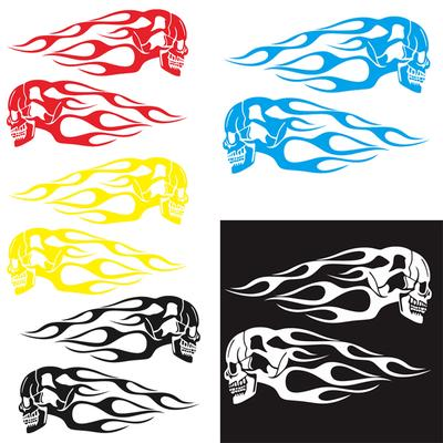 2pcs Flame Car Sticker And Decals Motorcycle Gas Tank Vinyl