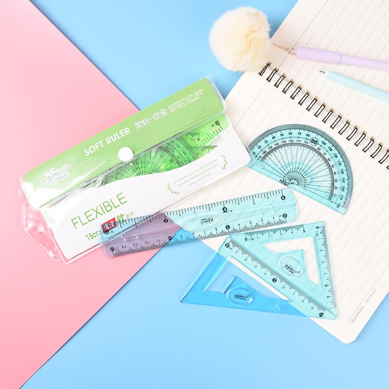 4Pcs//Set Student Ruler Sets Straight Triangular Measure Soft Flexible Stationery