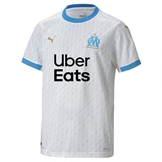 Puma Om Home Shirt Replica Jr with Sponsor Unisex Child, White-bleu Azur, Fr Unique (manufacturer Size: 176) 757046
