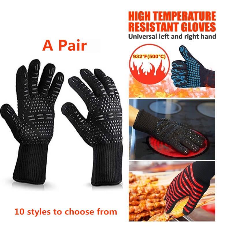 """1 Pair BBQ Guantes Resistentes al Calor para Cocina-932°F Extremo 13/"""" Protecci"""