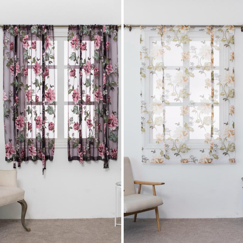 Tulip Mist ~ White Floral Sheer Kitchen Cafe Curtain