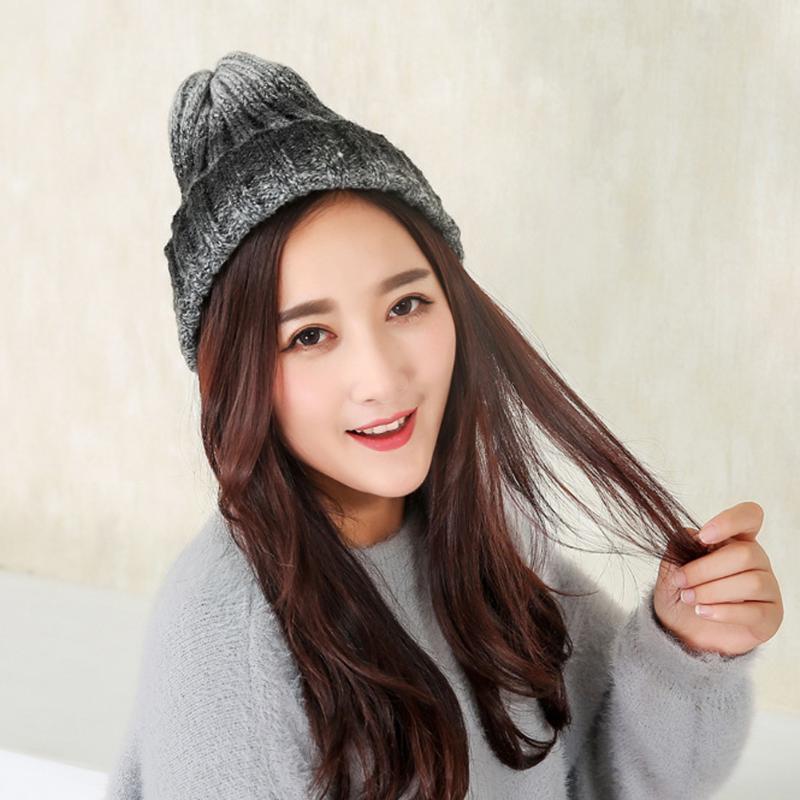 Mujeres lana cálido invierno Crochet tejido Beanie sombrero del ... dfdd182ffd5