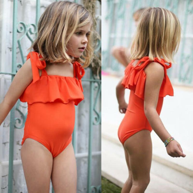 Toddler Kids Girl Bikini Ruffles Swimwear Swimsuit Baby Beach Romper One Piece