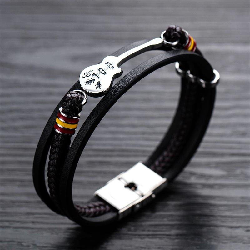 Custom Personalized Name Stainless Steel Microfiber Leather Cuff Bracelet with Magnet Clasp for Men Boy