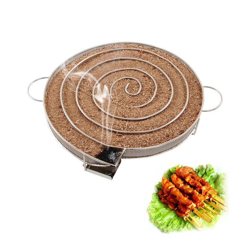 1PCS 12 Inch Round Smoker Wood Pellet BBQ Grill Hot /& Cold Smoking Mesh Tube Gen