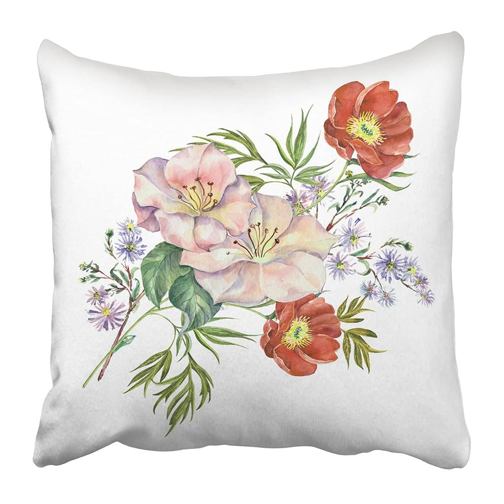 Colorful Vintage Flowers Spring Watercolor Green Floral Bouquet Leaf Draw Beauty Pillow Case 18x18inch 45x45cm Buy At A Low Prices On Joom E Commerce Platform