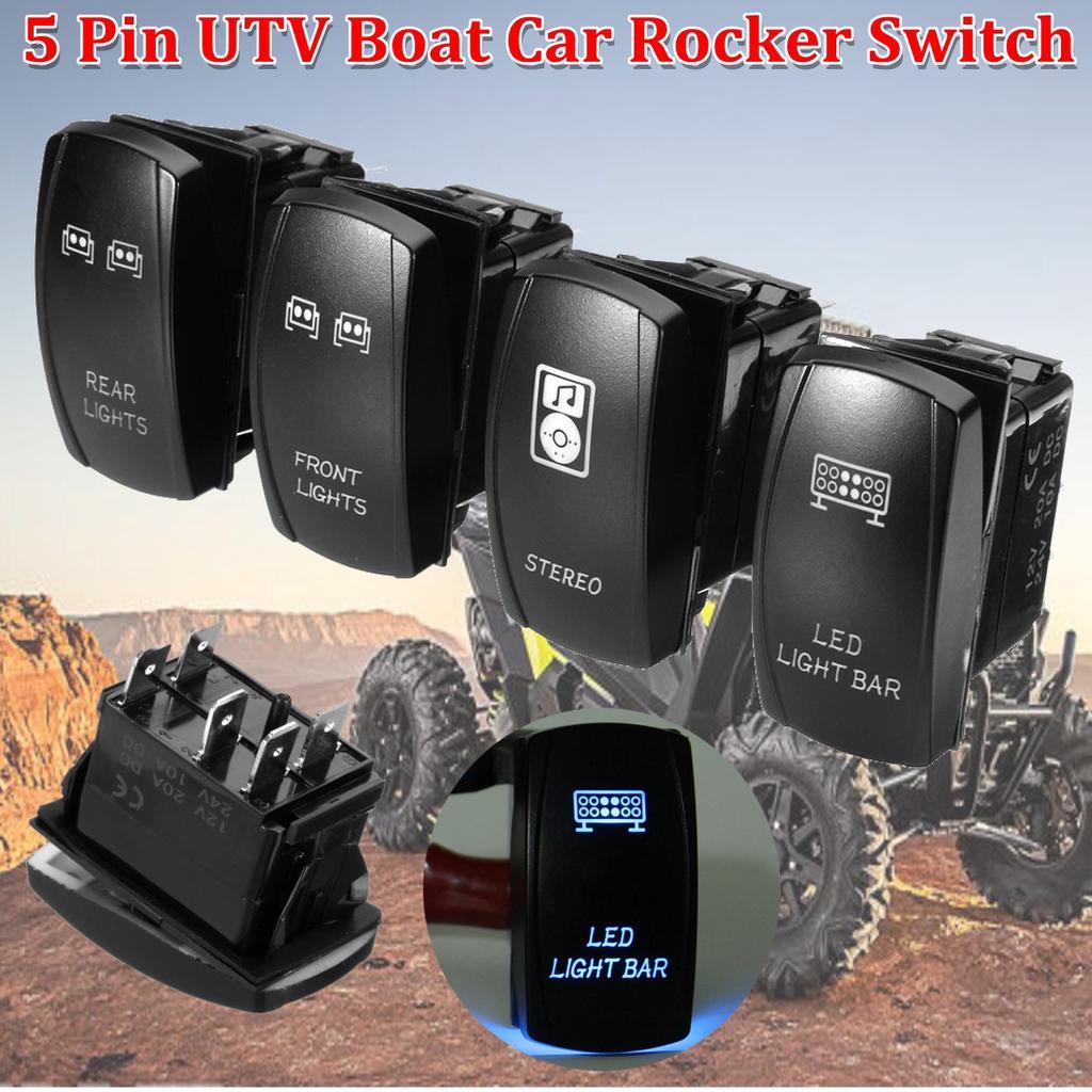 3 Pcs Front/&Rear Blue LED Rocker Switch For UTV Polaris RZR 4 XP 900 1000 12V