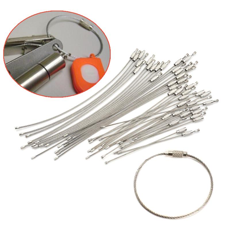 10PCS Hiking Tool Wire Keychain Cable Key Ring Stainless Steel 10//15//20cm BH