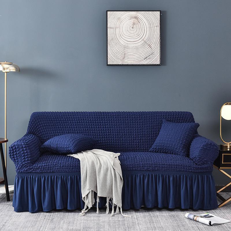 Jacquard Sofa Covers With Skirt, Blue Sofa Covers
