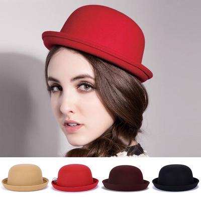 Womens Spring Autumn Winter Black Bow Pure Wool Fedoras Bucket Bowler Hats Crimping Beret Cap