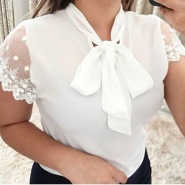 Женщины Блузь кружева твердый цвет Рубашки Сексуальный короткий рукав Мода Лук Летние Топы Рубашки фото