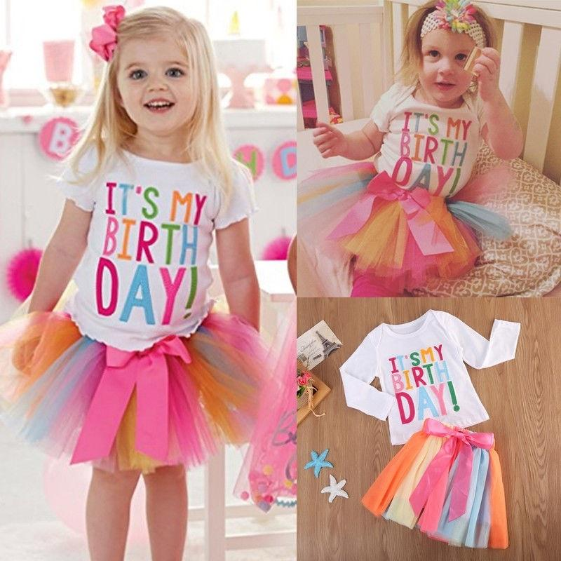 It/'s My Birthday Kid Girls T-Shirt Colourful Unicorn Tutu Skirt Dress Outfit Set