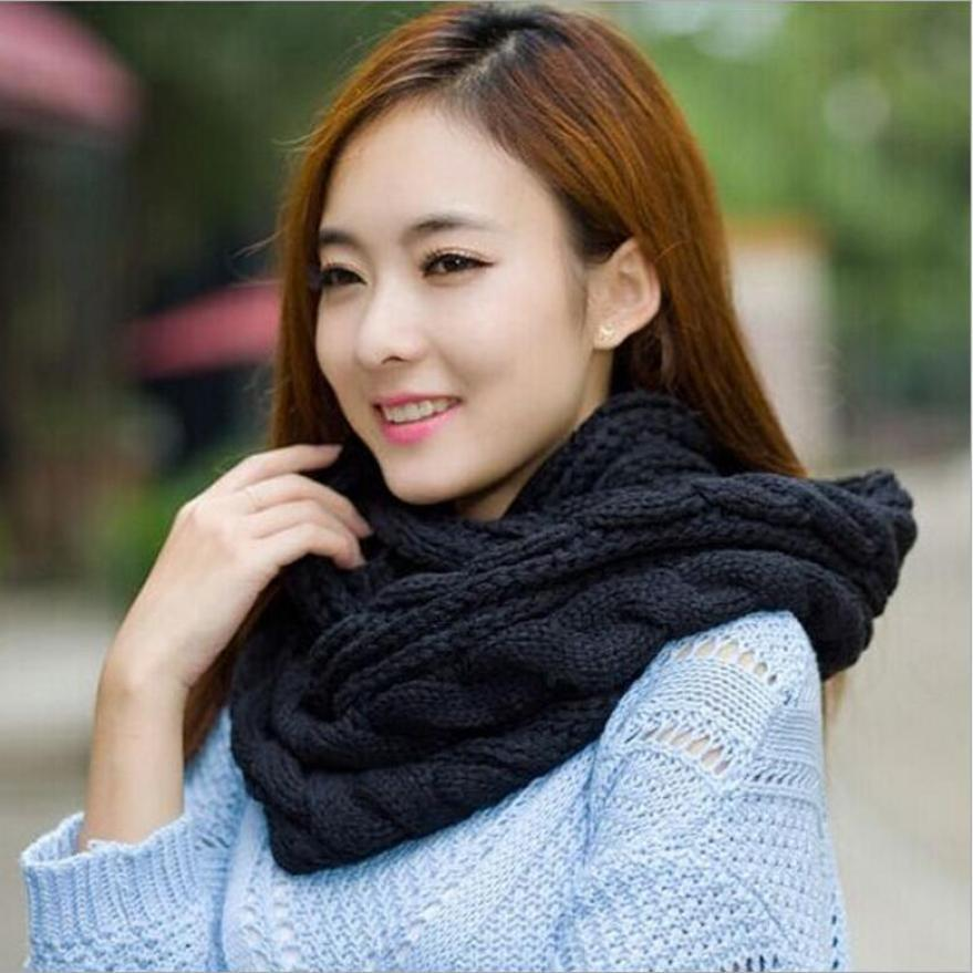Knit Scarf Warm Cable Knit Infinity Large Loop Wrap Around Scarf Unisex Hollow Out Knitted Circle Scarf for Women Men