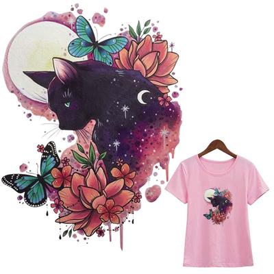 Cat Love Butterfly Stickers Transfers New Fashion Washable Diy Heat Transfer T-Shirt Jeans Decoration Iron On Patch
