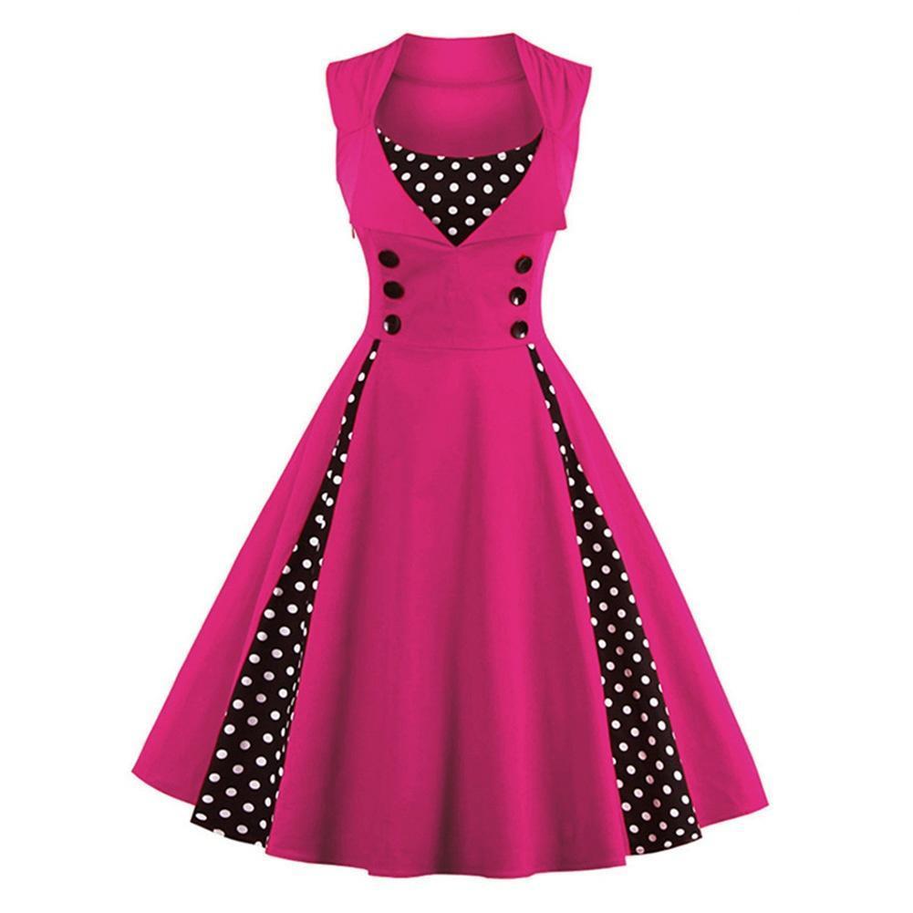 Las mujeres Vintage 50s 60s Rockabilly Dot Swing verano mujer ...