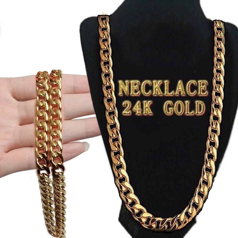 Горячая мода Мужская Новая мода 18K Позолоченные / Серебряный / Черный Curb Цепь ожерелье ювелирные изделия фото