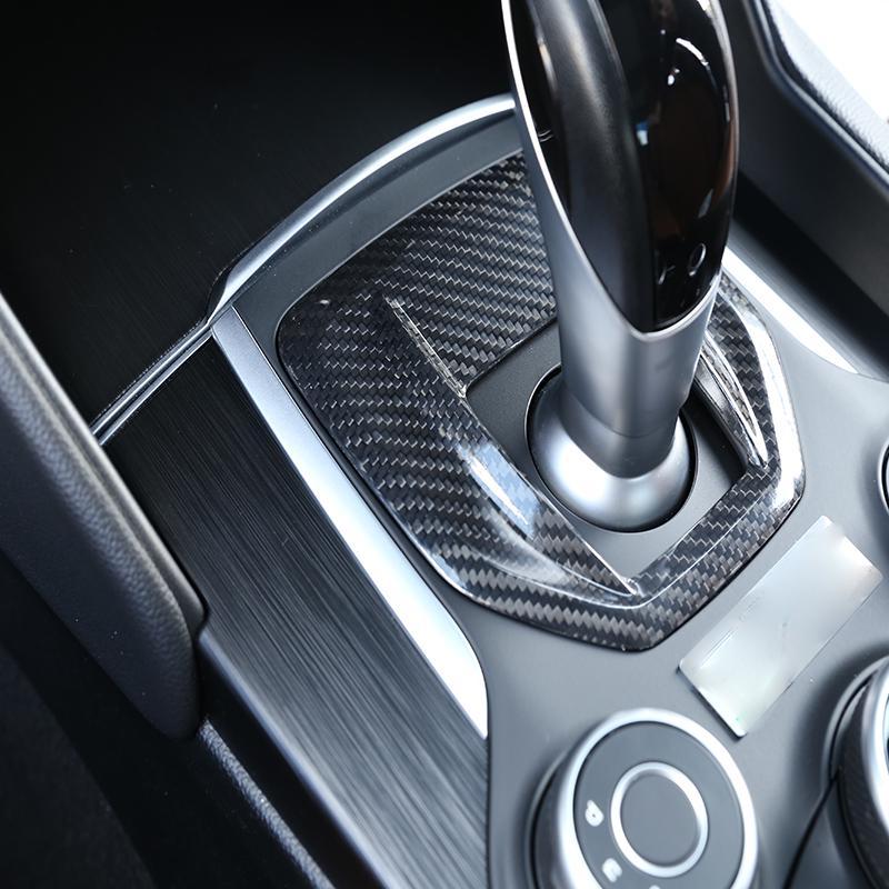 Heitune Carbon Fiber ABS Gear Shift Box Panel Cover Trim for Alfa Romeo Giulia 2017-2018
