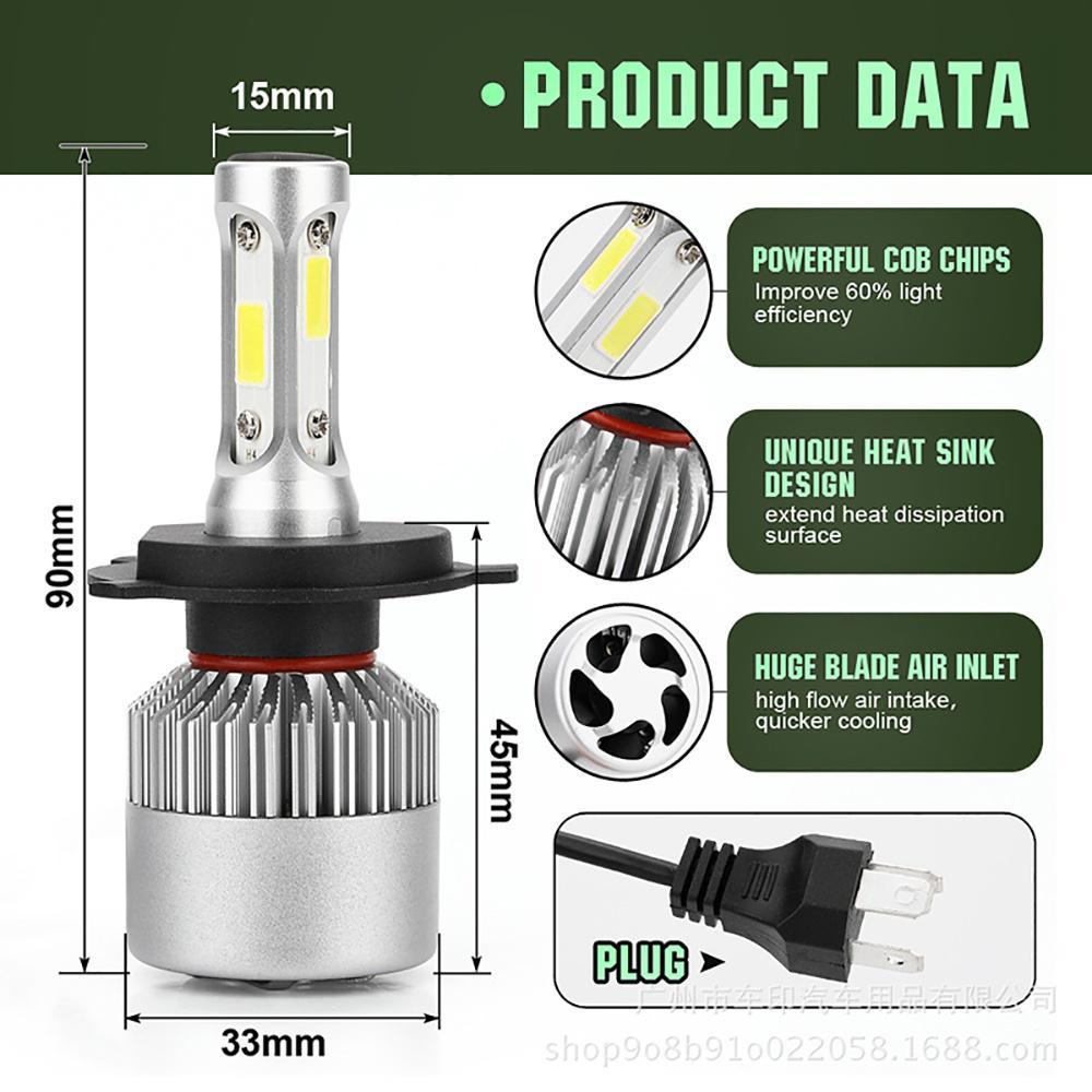 2X CREE H7 LED Headlight Conversion Bulb Kit 110W 26000LM High Power White 6000K