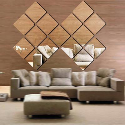16 pcs square decorative mirrors self-adhesive tiles mirror wall