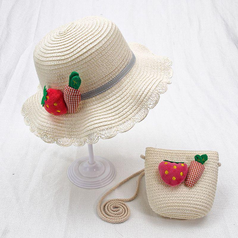 2pcs Summer Sun Hat Girls Kids Straw Cap Beach Hats Flower Decor+Handbag Set