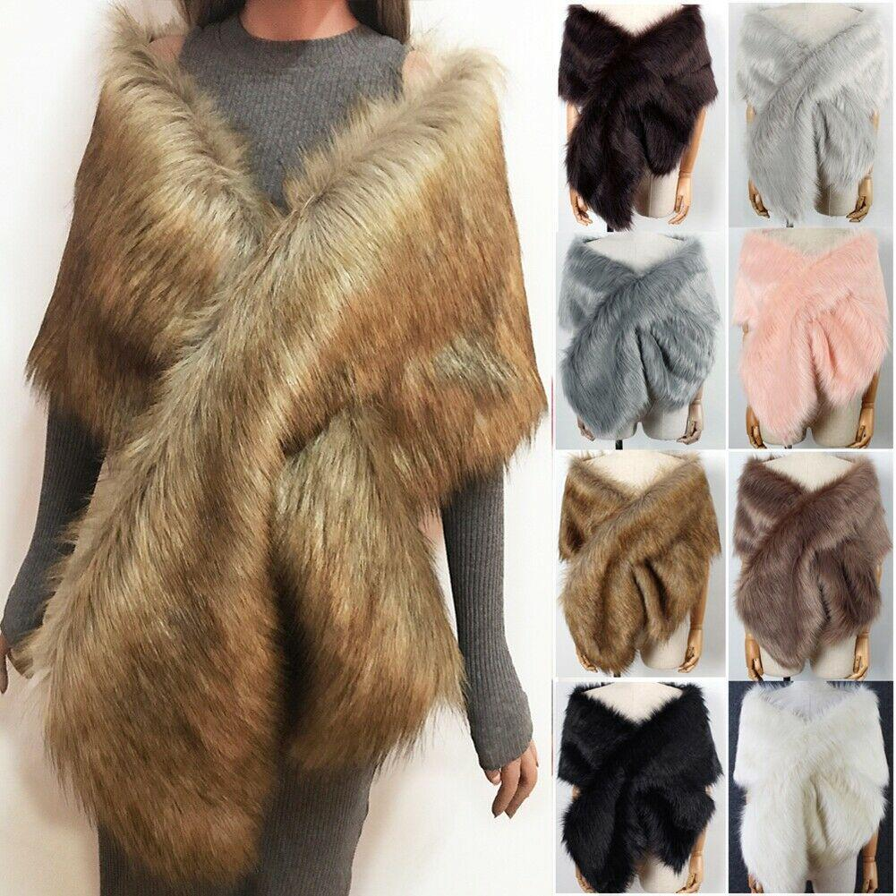 Ladies Winter Faux Fur Scarf Neck Warmer Wrap Extra Large Collar Shawl Stole