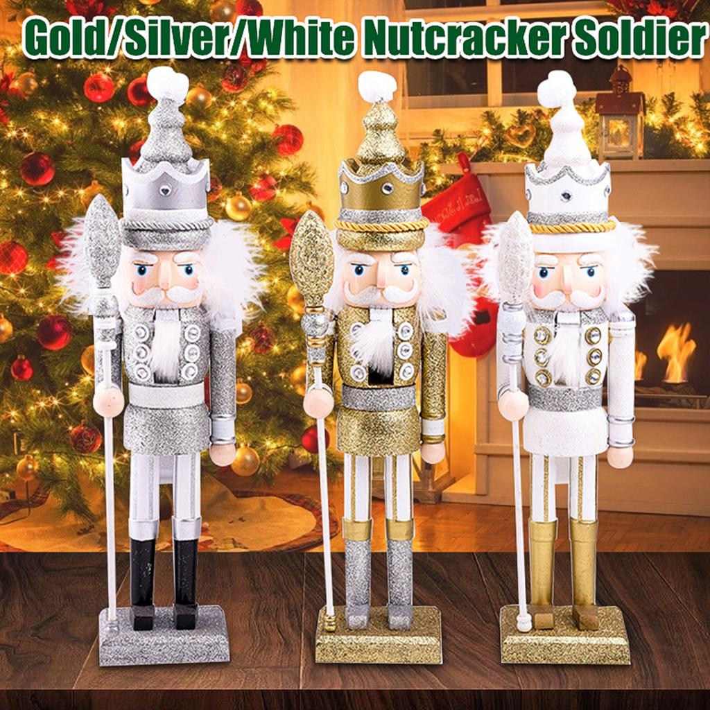 Nutcracker soldiers White And Gold Standing Or Hanging