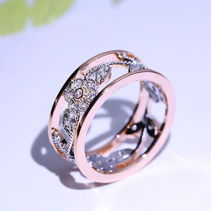 Florale Muster Vorschlag Geschenk zwei Ton Kristall Schmuck Ranke Blume Braut Verlobungsringe