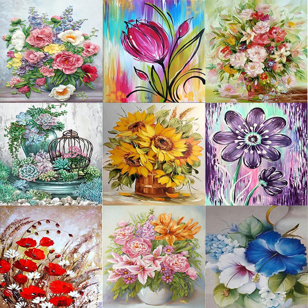 5D DIY Full Drill Diamond Painting Flower Cross Stitch Embroidery Mosaic Kit
