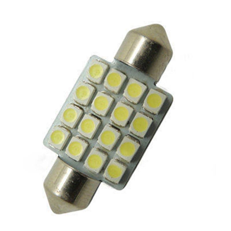 10pcs x Car Dome 16 3528-SMD LED Bulb Light Interior Festoon Lamp 41mm White
