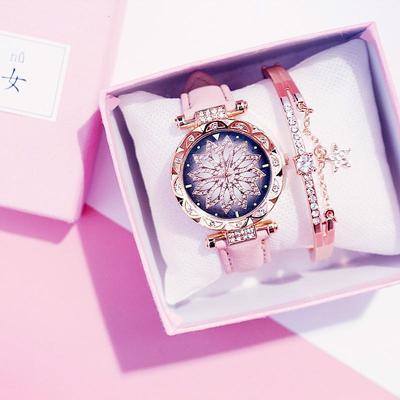 Quartz Watches Leather Band Big Dial Bracelet Wristwatch Watch Jewelry Festive Gift