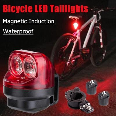 Magnetic Cycling Bike Magnetic Induction Light Safety Warning Rear Tire Lamp New