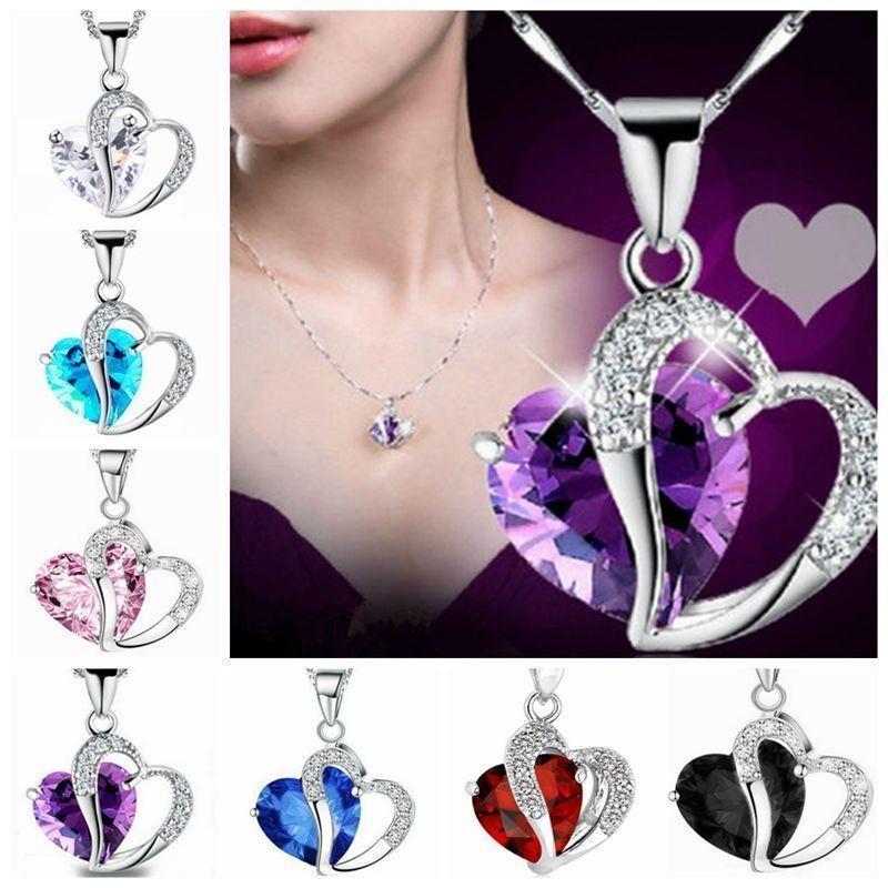 Женщины сердце Формы Кристалл Рейнстоун Серебряная цепь кулон ожерелье ювелирные изделия фото