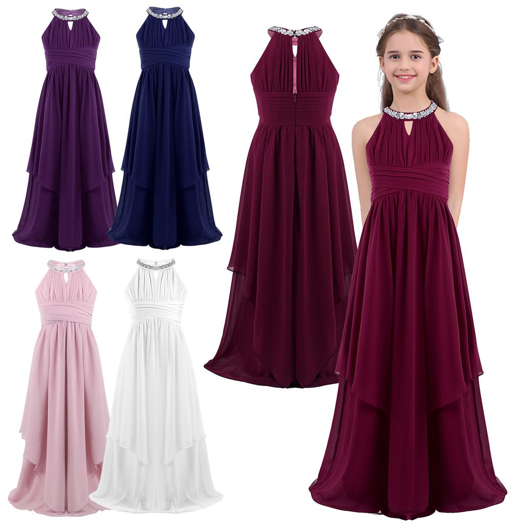 Kids Halter Lace Chiffon Flower Girl Dress Wedding Bridesmaid Party Ball Gowns
