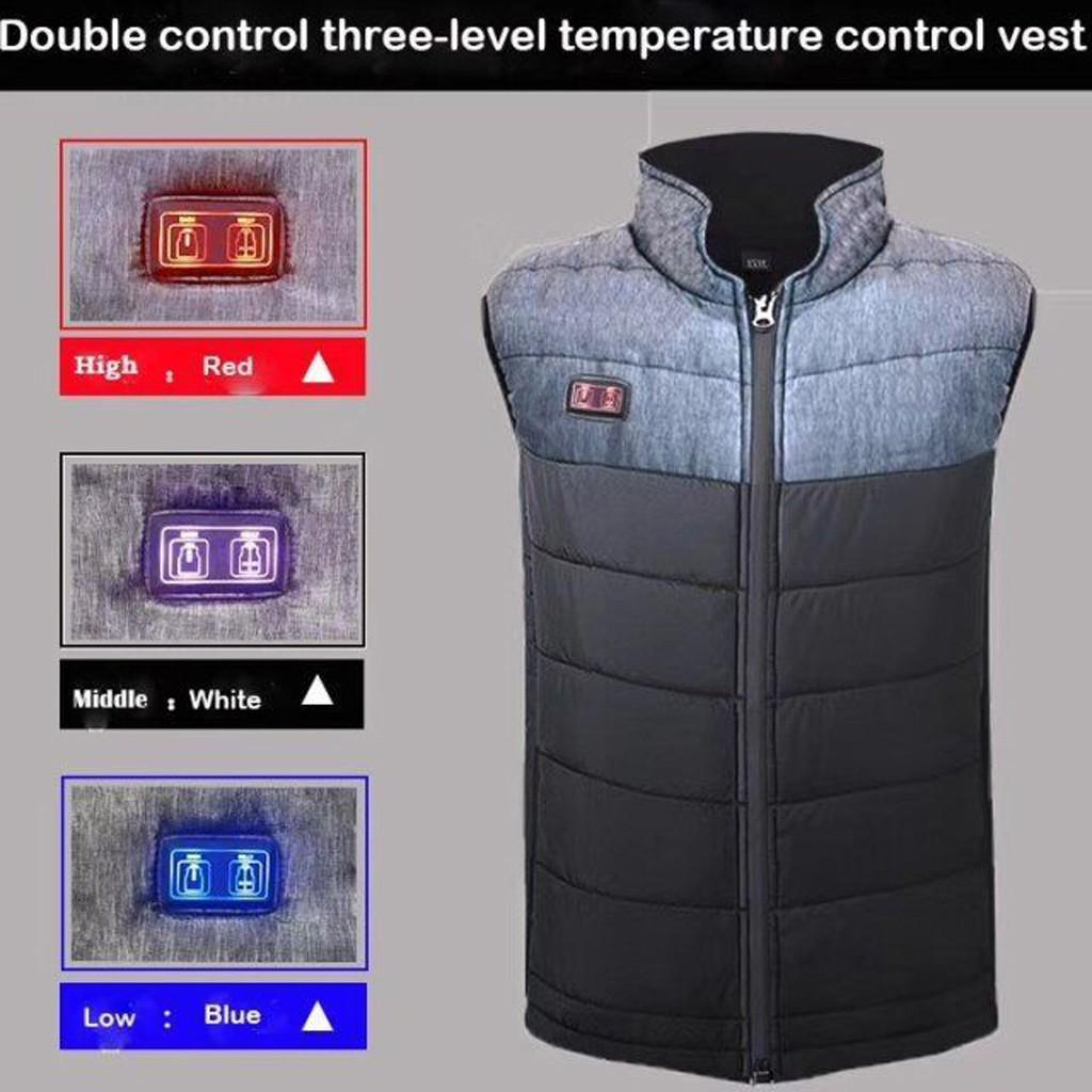 Electric Heated Vest Lightweight Winter Warm Waistcoat 3 Modes Vest USB Charging Heated Coat Thermal Vest with Pocket for Walking Camping Ice Fishing Snowboarding Skiing