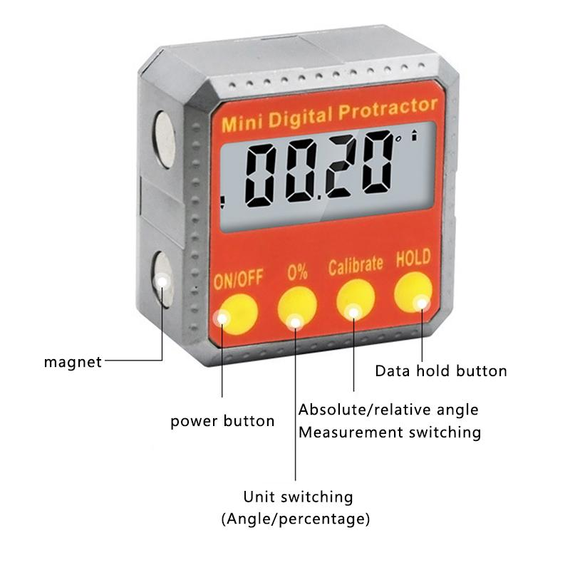360° Magnetic Digital Inclinometer Level Box Angle Finder Protractor Black