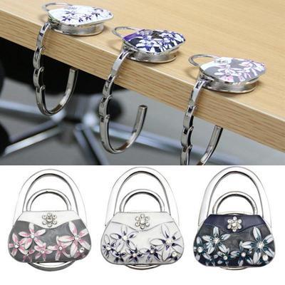 Vintage Flower Handbag Table Hook Table Hook Folding Bag Desk Hanger Foldable Holder