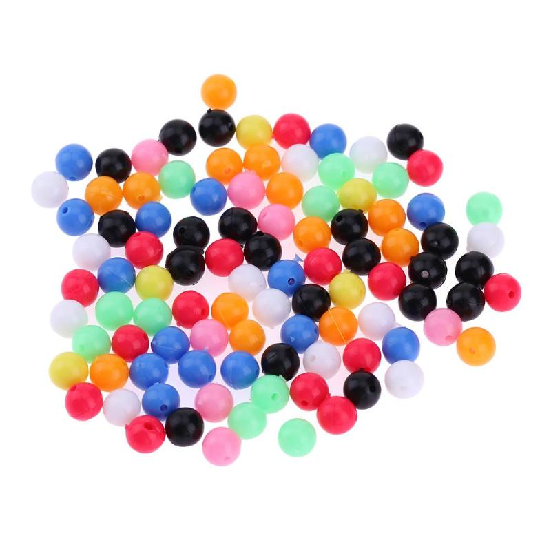 Color Round PE Plastic Double Pearl  Floats Balls Fishing Cross Beads Drill