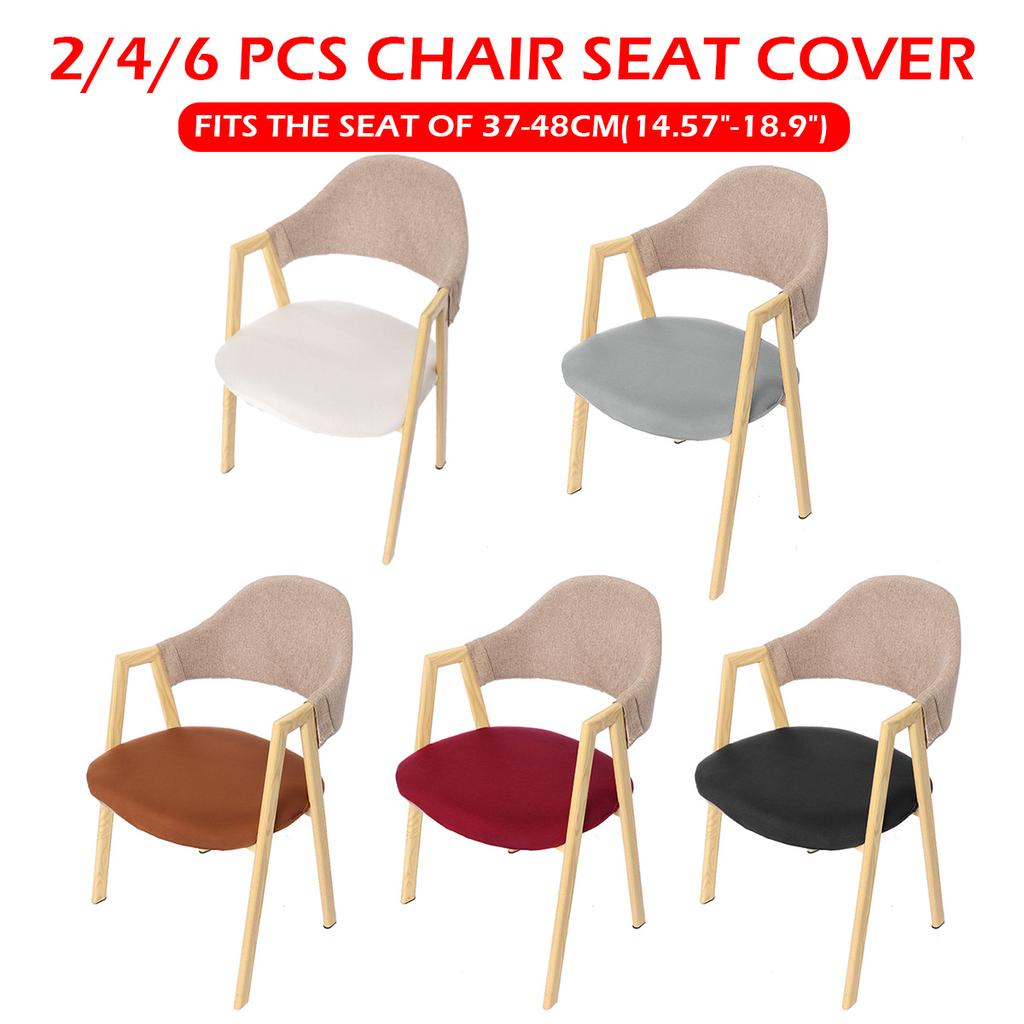 6Pcs Home Polyester Dinning Chair Seat Cover Elastic Stretchable Slipcovers