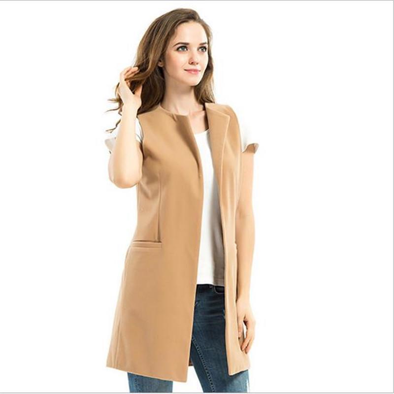 2018秋马甲女中长款欧美女装新款外套无袖宽松上衣毛呢马夹