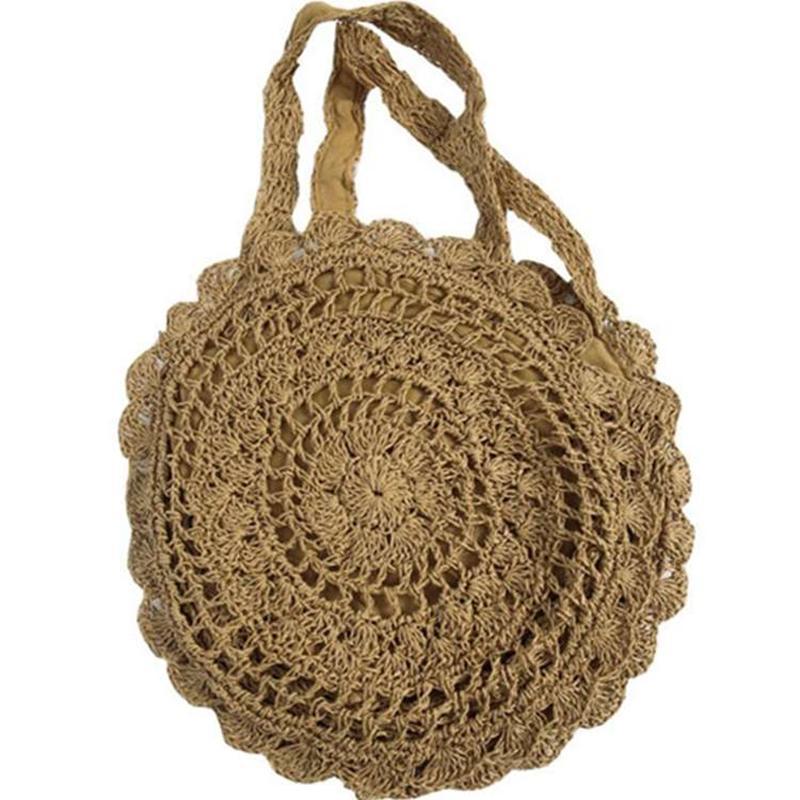 Details about  /Women Straw Shoulder Bag Bucket Tote Summer Beach Woven Handmade HOT NEW S7X7