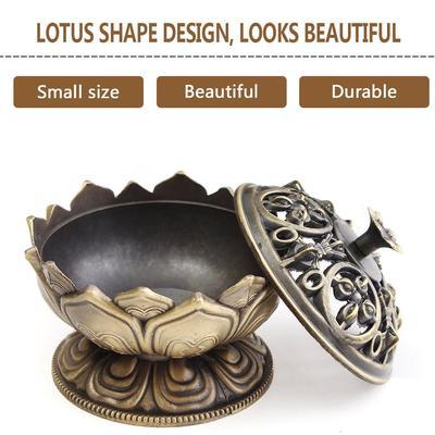 Lotus Shape Alloy Incense Burner Censer Home Office Craft Incense Holder