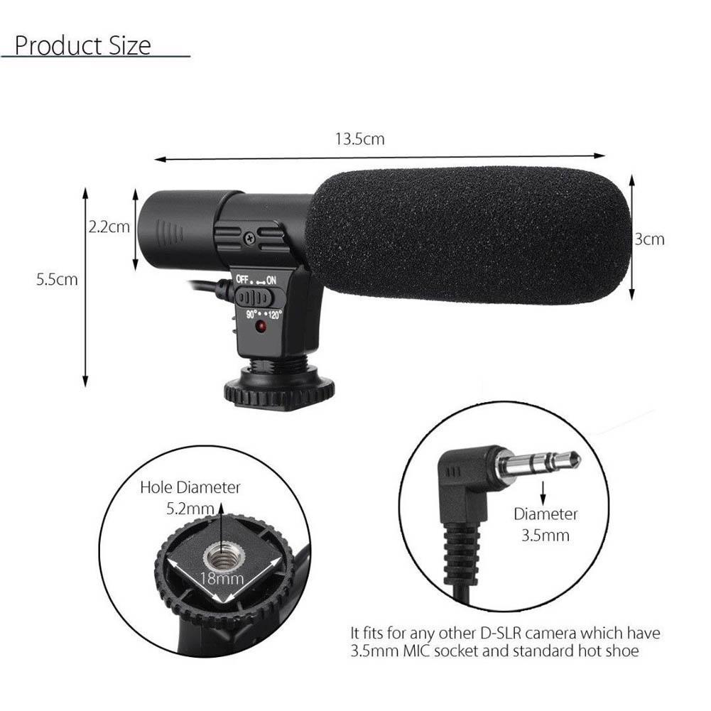 Black External Stereo Microphone Fit For Canon Nikon DSLR Camera DV Camcorder