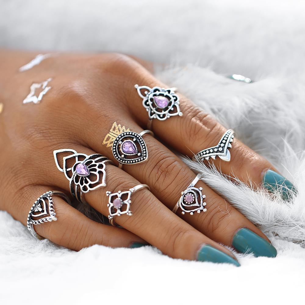 10pcs Women Punk Vintage Knuckle Rings Hollow V-Shape Punk Mini Ring Jewelry Hot