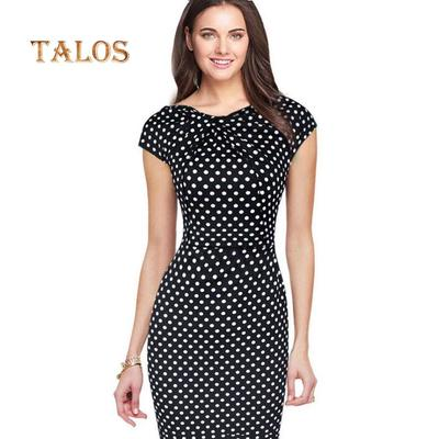 e382dc989e Women Summer Office Party Flower Printed Dot Bodycon Slim Sheath Pencil  Dress