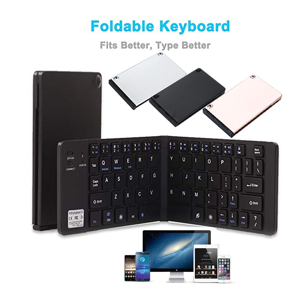 Tri-Fold Wireless Ultra-Thin Portable Bluetooth Keyboard with Stand Flexible Keyboard Size Mini Rechargeable for Android Phone iOS Windows Tablet,White