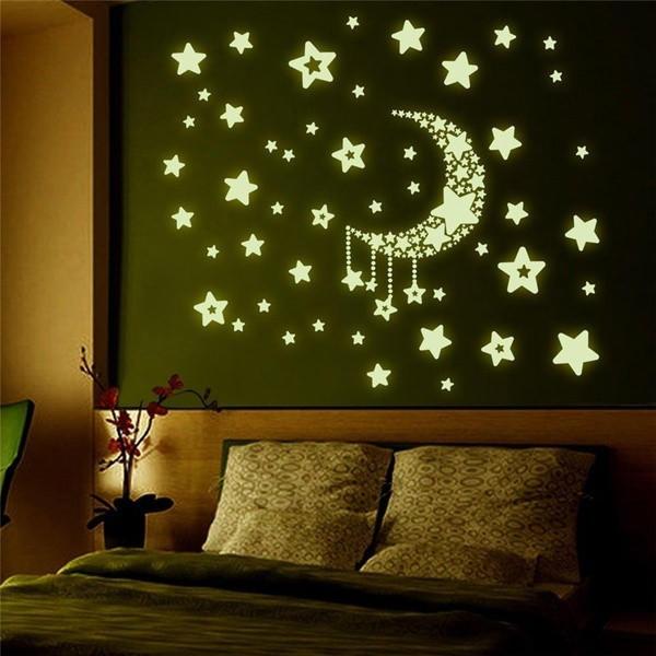 时尚墙贴天花板在黑暗中发光星星和月亮回家贴花宝贝孩子卧室装饰