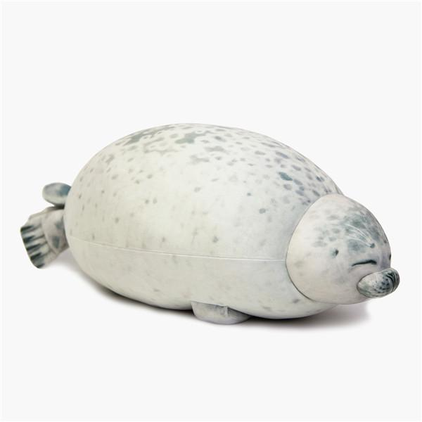 17.3 in Stuffed Cotton Plush Animal Toy Cute Ocean Plush Pillows Grey Medium Chubby Blob Seal Pillow